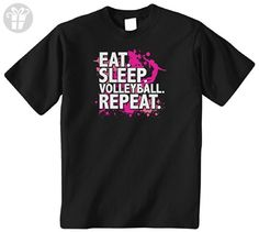 Threadrock Big Girls' Eat Sleep Volleyball Repeat Youth T-Shirt L Black (*Amazon Partner-Link)