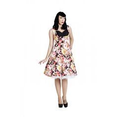 8bb5e50c2e1bed 'Ophelia' Enchanting Black & Pink Floral 1950s Inspired Picnic Dress