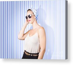 Portrait Acrylic Print featuring the photograph Glamour Fashion Girl On Retro Striped Background by Jorgo Photography - Wall Art Gallery
