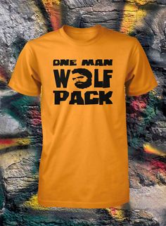 One Man Wolfpack Shirt Funny T Shirt Sizes by FunhouseTshirts