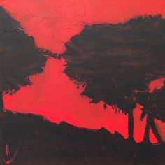 www.murielchazalon.fr Skyline, Trees, Oil, Celestial, Sunset, Abstract, Artwork, Painting, Outdoor