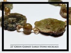 "22"" Green Garnet Large Stone Necklace Rock Necklace, Stone Necklace, Garnet, Rocks, Stud Earrings, Necklaces, Jewelry, Granada, Jewlery"