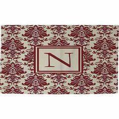 Thumbprintz Damask Monogram Rug, Crimson, Red