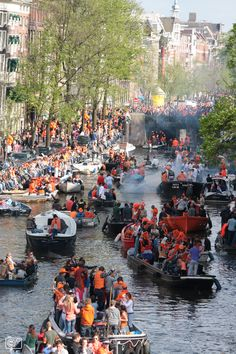 Prinsengracht Amsterdam on Queen's day. 2013 last Queen's day, next year... Kings day!