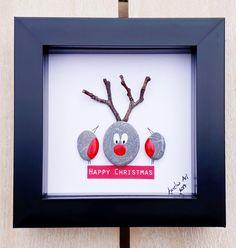 Reindeer pebble art Reindeers picture t Christmas Pebble Art, Christmas Rock, Christmas Frames, Christmas Pictures, Christmas Time, Christmas Fair Ideas, Robin Pictures, Pebble Pictures, Picture Gifts