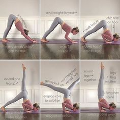 How I first learned to ... Chin Stand 1. Find your Downward Dog. Spread your fingers wide and grip you mat for a strong base. 2. Wrap…