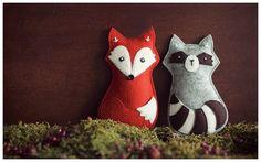 Fuchs und Waschbär aus Wollfilz