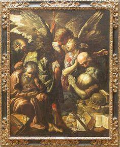 Claude VIGNON Tours, 1593 - Paris, 1670  La Mort de saint Antoine ?  Vers 1620  H. : 1,65 m. ; L. : 1,31 m.  Dans cette mort d'un vieil ermite (saint Antoine ?), assisté de trois autres et de deux anges, Vignon, à Rome, montre un caravagisme scintillant, proche de Borgiani.