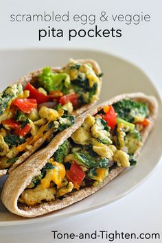 Healthy Scrambled Egg and Veggie Pita Pockets on Tone-and-Tighten.com
