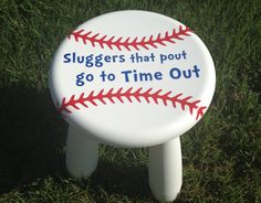 Personalized Kids Stool  Baseball Time Out Stool by TheCraftyGeeks, $20.00