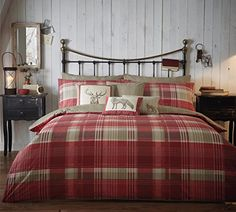 Country bedding Sets - Tartan Check Quilt Duvet Cover Bedding Set Country Christmas Cotton Stag New UK. Coverlet Bedding, Red Bedding, Luxury Bedding, Comforter Sets, Plaid Comforter, Bed Duvet Covers, Duvet Cover Sets, Country Bedding Sets, Country Quilts