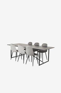 Pinner matgrupp med ett modernt bord med plats för många gäster! Toppen består av en svartmålad MDF skiva och underrede i metall. Bordets mått; 100 x 240, höjd 75 cm. Mått mellan bordsben 185 cm. Matchas med 6 st stilrena stolar i sammet med metall ben. Stolens mått; höjd 87, bredd 43,5, djup 53 cm. Sitthöjd 48 cm. Bordet och stolarna kräver enklare montering. Ben, Matcha, Dining Table, Furniture, Home Decor, Decoration Home, Room Decor, Dinner Table