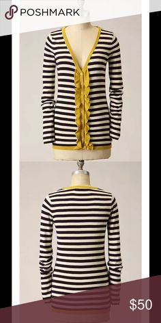 """Anthro Frilled & Thrilled Striped Ruffle Cardigan $88 SPARROW Anthropologie Frilled & Thrilled Striped Ruffle Cardigan Sweater M    Contrast trim and slim ruffles add a zesty zing to the placket of Sparrow's skinny-striped sweater. Cotton Unstretched it measures 36"""" around the chest. Hemline stretches from 32"""" to 38"""" Length: 26"""".  Stripes are a dark wine plum purple color and chartreuse ruffle trim. Anthropologie Sweaters Cardigans"""