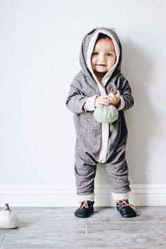 Soft and Warm Harem style romper Grey Romper Bear romper
