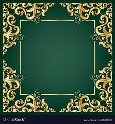 Luxury golden square frame vector image on VectorStock Eid Background, Wedding Background Images, Wedding Invitation Background, Background Patterns, Art Nouveau, Adobe Illustrator, Bg Design, Certificate Design Template, Free Vector Backgrounds