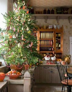 Love this kitchen and the tree on the counter for Christmas