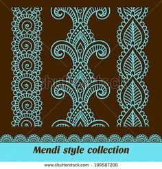 Find Ornamental Seamless Borders Vector Set Abstract stock images in HD and millions of other royalty-free stock photos, illustrations and vectors in the Shutterstock collection. Henna Doodle, Henna Mandala, Mandala Drawing, Mandala Painting, Henna Art, Doodle Art, Henna Patterns, Zentangle Patterns, Embroidery Patterns