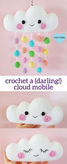 Crochet an adorable amigurumi baby mobile of a cloud with rainbow rain drops. Crochet an adorable amigurumi baby mobile of a cloud with rainbow rain drops. Crochet Baby Mobiles, Crochet Mobile, Crochet Baby Toys, Crochet Diy, Crochet Gratis, Baby Girl Crochet, Amigurumi Patterns, Crochet Patterns, Rainbow Crochet