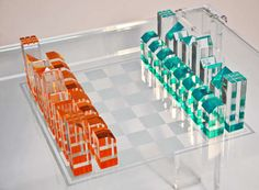 MCM chess set - lucite.                                                                                                                                                                                 More