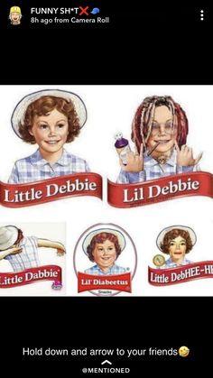 Oh no lol what happened to Little Debbie? Funny Texts, Funny Jokes, Hilarious, Image Hilarante, Lil Debbie, Haha, Memes Estúpidos, Fresh Memes, Funny Pins