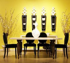 Interesting Black And Yellow Dining Room Decor Wall
