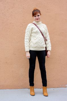 white chunky sweater + black pants + tan boots
