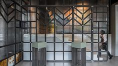 Custom metalwork and glasswork in the entryway.