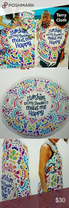 """ROUND BEACH TOWEL. TERRY CLOTH. Printed round beach towel with tassel. Approx. 59"""" diameter.  Great for beach, picnic, wall hanging, table cover, bed accent.  So many great uses. Accessories"""