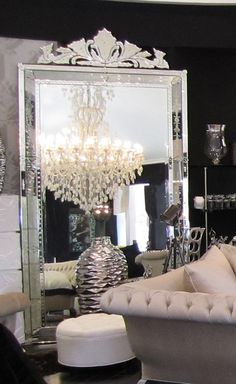 Inspired by the fabulous artwork in Venice, this mirror is beautifully made. It features a gorgeous contoured head piece that accentuates the grandeur created by it's sheer size. This mirror is fit for modern royalty. 59 in (Width) 120 in (Tall) Home Interior Design, Mirrored Furniture, Room Decor, Decor, House Interior, Bedroom Decor, Decor Inspiration, Glam Decor, Home Decor
