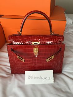 cd35999d93 Hermes Kelly 25 Sellier Sanguine Croc Nilo Shinny GHW