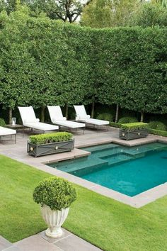 Small Backyard Design, Small Backyard Pools, Backyard Pool Designs, Backyard Patio, Outdoor Pool, Backyard Landscaping, Landscaping Ideas, Backyard Ideas, Small Backyards