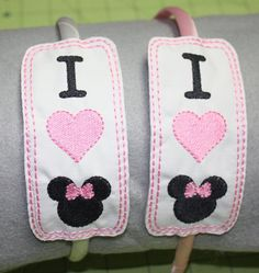 Minnie Mouse slider headband I Love Minnie by DollyGeeWillikers