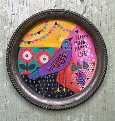 A personal favorite from my Etsy shop https://www.etsy.com/listing/535279920/folk-art-bird-painting-on-a-vintage-tray