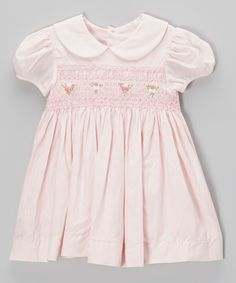 Another great find on #zulily! Pink Smocked Rosette Dress - Infant & Toddler by Fantaisie Kids #zulilyfinds