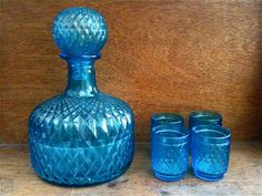 Vintage English Blue Decanter with 4 Small Glasses by EnglishShop, $165.00