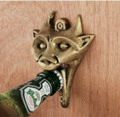 Amazon.com: Authentic Gargoyle Bottle Opener in Antique Brass: Kitchen & Dining