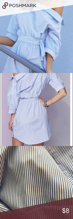 Blue pinstriped dress. Pin striped off the shoulder dress. Wears more like a medium! So cute for summer! Dresses