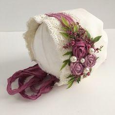 Image of Suzy Newborn Bonnet Vintage Headbands, Handmade Headbands, Baby Headbands, Handmade Crafts, Handmade Rugs, Sewing For Kids, Baby Sewing, Baby Boy Baptism Outfit, Baby Couture