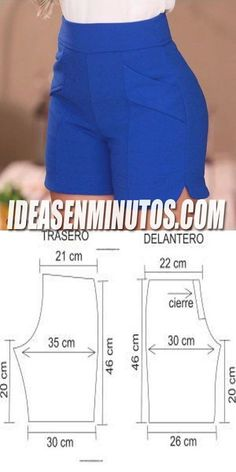 Sewing Shorts, Sewing Clothes, Dress Sewing Patterns, Clothing Patterns, Fashion Sewing, Diy Fashion, Como Fazer Short, Costura Fashion, Pants Pattern