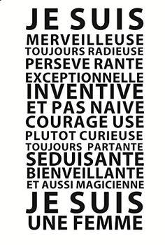 """Stickers Design et sophistiqué """"Je suis une Femme"""" by GALI ART  Revendiquez vos…"""
