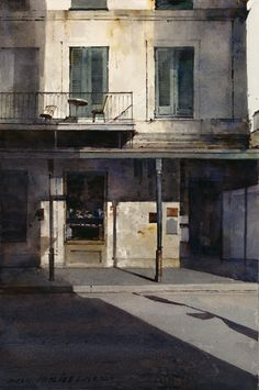 """Dean Mitchell, """"Napolean House,"""" Watercolor on watercolor board 15"""" x 10"""""""
