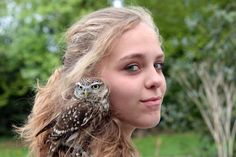 Falconry with Owls - Jeanene with a Little Owl.