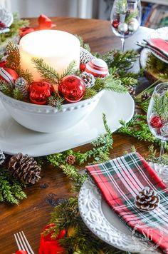 Tartan Christmas, Christmas Jingles, Christmas Brunch, Rustic Christmas, Simple Christmas, Christmas Holidays, Stone Gable Christmas, Christmas Tree Candles, Christmas Tablescapes