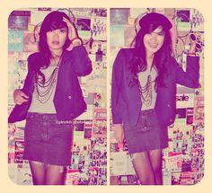 Pinotch12 Blue Korean Blazer, Pinotch12 Gorgeous Necklace, Levi's Mini Skirt Jeans, Unbranded Baret Hat