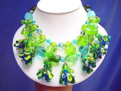 Lampwork Flower Handwoven Necklace