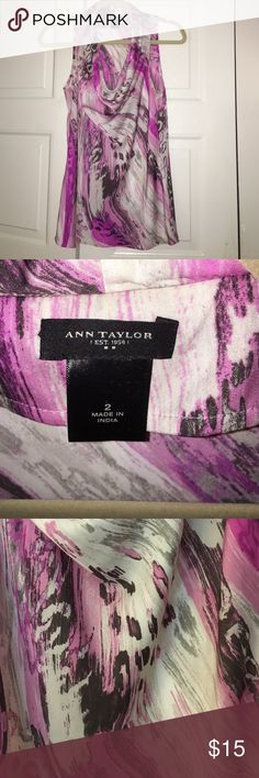 Ann Taylor cowl neck tank! Pink/Gray patterned cowl neck tank.  Really awesome under suits! Ann Taylor Tops Blouses