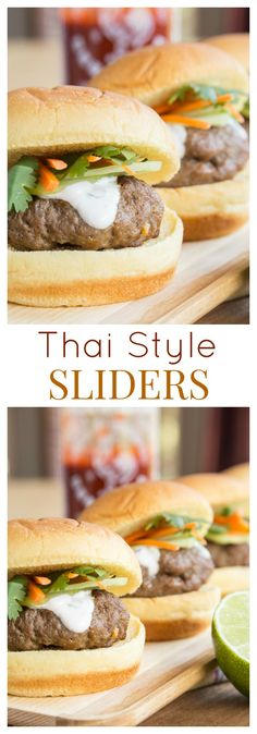 Thai Style Sliders - an easy recipe to infuse Asian flavors into fun little beef burgers. Makes a great appetizer or #SundaySupper on the grill. | cupcakesandkalechips.com