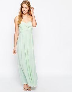 TFNC Maxi Dress In Pleated Chiffon - Green lily