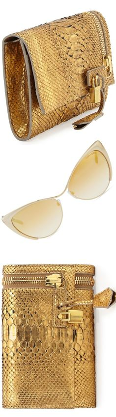 Tom Ford Alix Python Bag Gold Metallic Snakeskin Snake Print #UNIQUE_WOMENS_FASHION