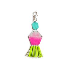 Hexagon Tassel Leather Key Chain - Turquoise, Hot Pink & Neon Green by Boo+Boo Factory {SHOP: queenfordinner.com}